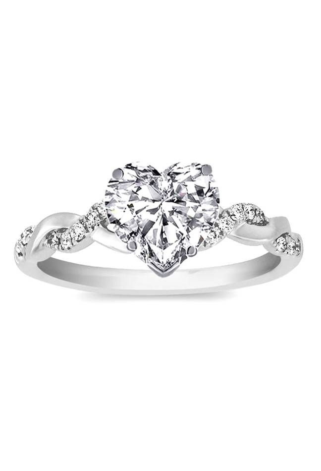 Heart Shape Diamond Petite Twisted Pave Band Engagement Ring Heart Shaped Engagement Rings Heart Shaped Diamond Engagement Ring Heart Engagement Rings