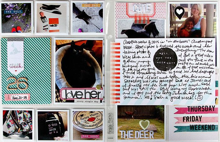 DITL 2015 Week 26, by Alissa Fast using the Hemingway Collection from www.cocoadaisy.com #cocoadaisy #scrapbooking #kitclub #DITL #projectlife #pocketpages #washi #journaling #stamping
