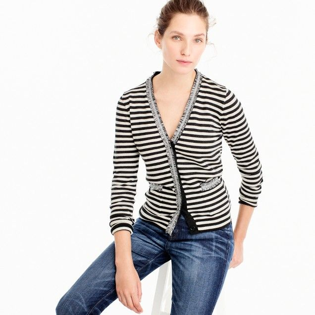 Striped Harlow cardigan sweater with tweed trim : | J.Crew ...