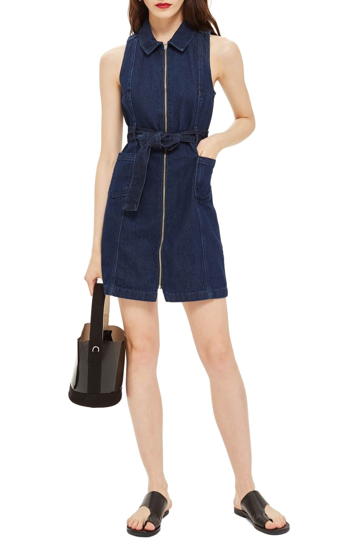 1931d735bce Topshop Belted Zip-Up Denim Dress