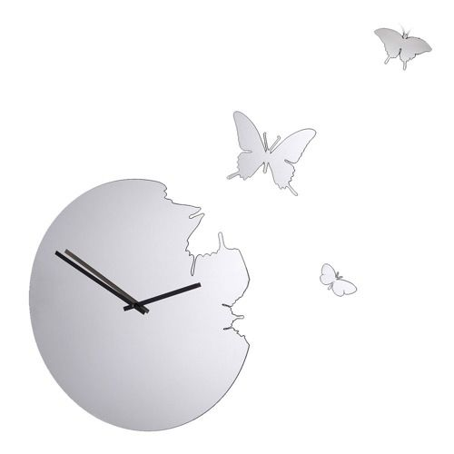 Butterfly Mirrored Wall Clock from Occa Home