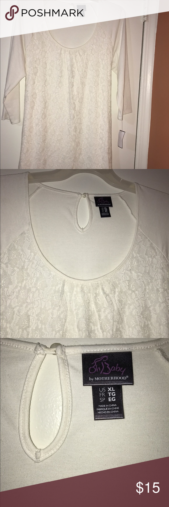 NWT White Lace maternity top XL I have a brand new with tags white long sleeve top with front lace maternity top Oh Baby by Motherhood Tops Tees - Long Sleeve