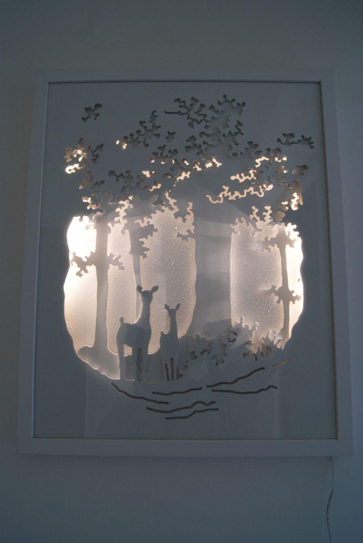 le sous bois tableau lumineux en trois dimensions. Black Bedroom Furniture Sets. Home Design Ideas