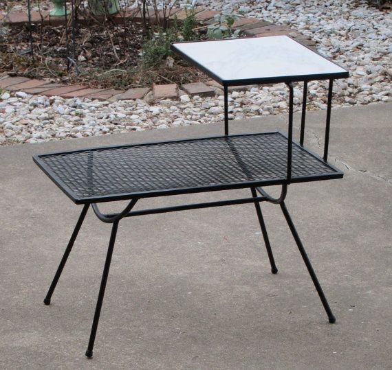 Mid Century Modern Wrought Iron End Table With Italian By Badeye