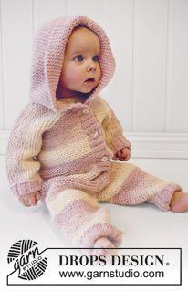 """Playdate - Babygrow DROPS em ponto jarreteira com capuz, tricotado com 2 fios """"Alpaca"""". Tamanho recém-nascido a 3/ 4 anos. - Free pattern by DROPS Design"""