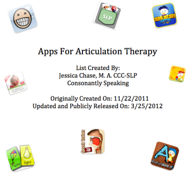 Articulation Application List for the iPod touch, iPhone, iPad, Android, and Nook - created by Consonantly Speaking