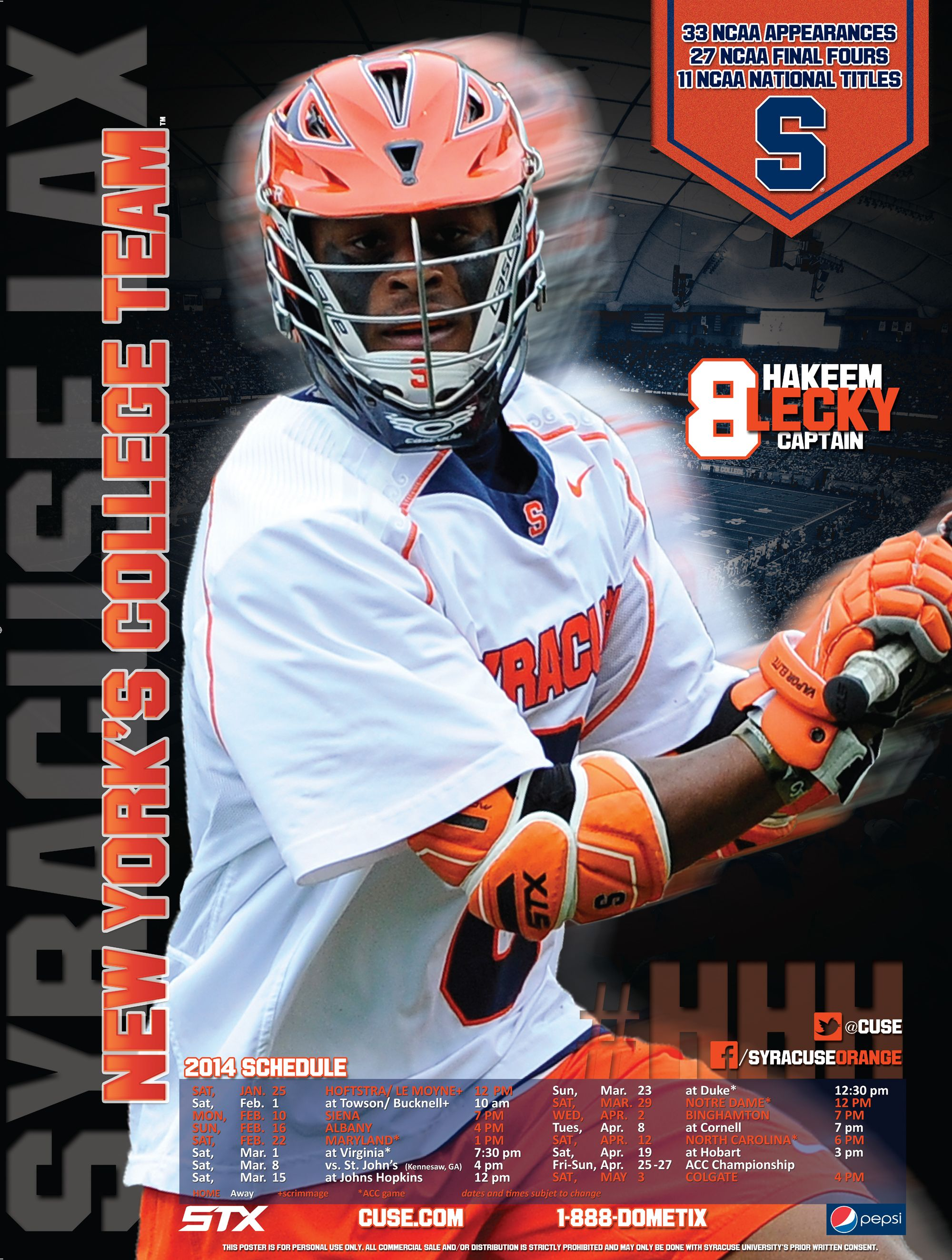 Syracuse Men's Lacrosse Poster 2014 Fourth of 4 in the