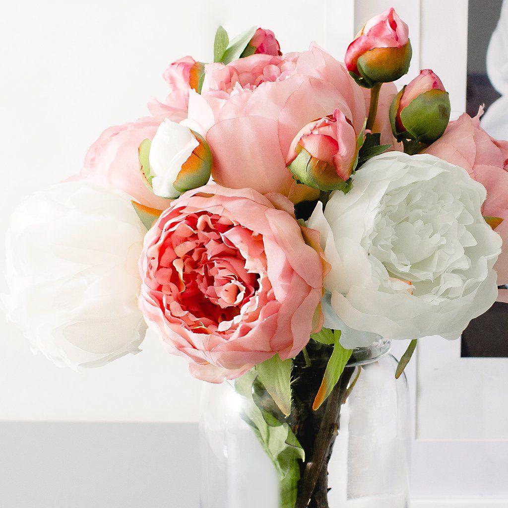 1pc 3pcs Pink White Peony Peonies Silk Flower Pinterest