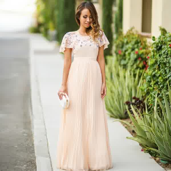 Fashion Trends, High Neck Cap Sleeves Long Pleated Summer Petite ...