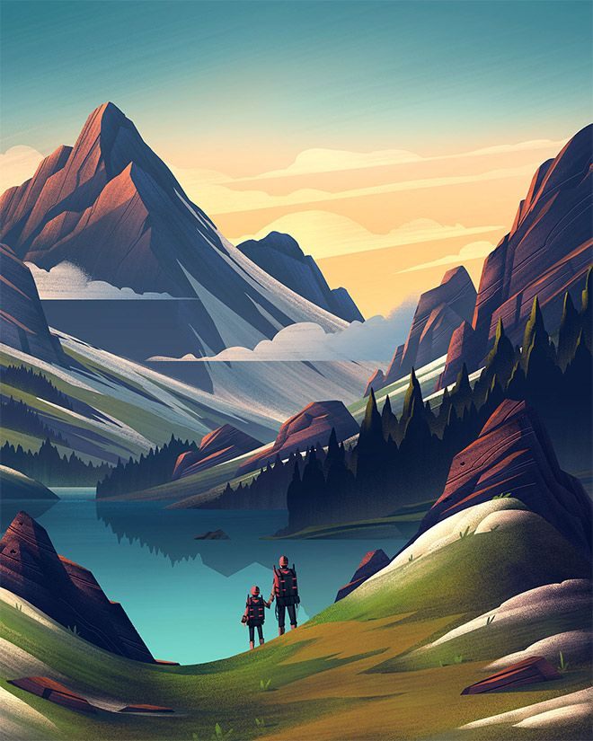 35 Scenic Landscape Illustrations With Vibrant Colors Landscape Artwork Landscape Illustration Scenic Landscape