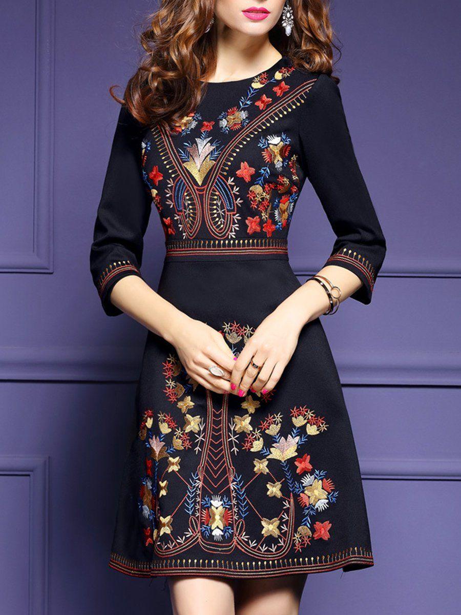 264261e960 Shop Midi Dresses - Floral A-line Casual 3/4 Sleeve Midi Dress online.  Discover unique designers fashion at StyleWe.com.