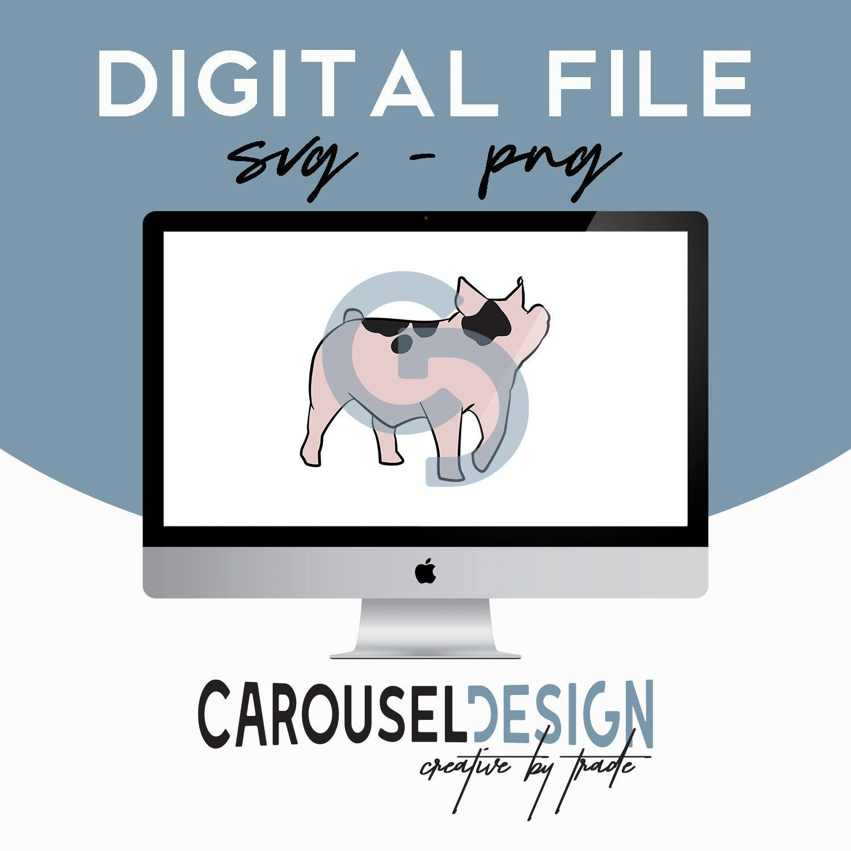 Hampshire Pig Show Pig Livestock Clipart Graphic Belted Pig Digital File