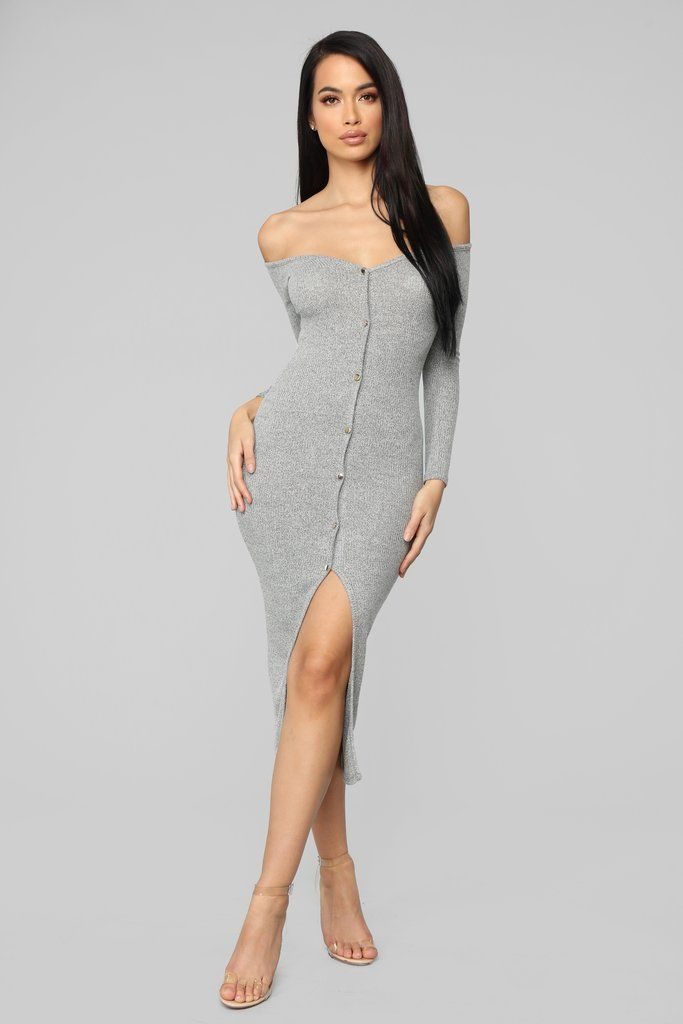 bd47ab017978 Off To Carolina Ribbed Midi Dress - Heather Grey in 2019