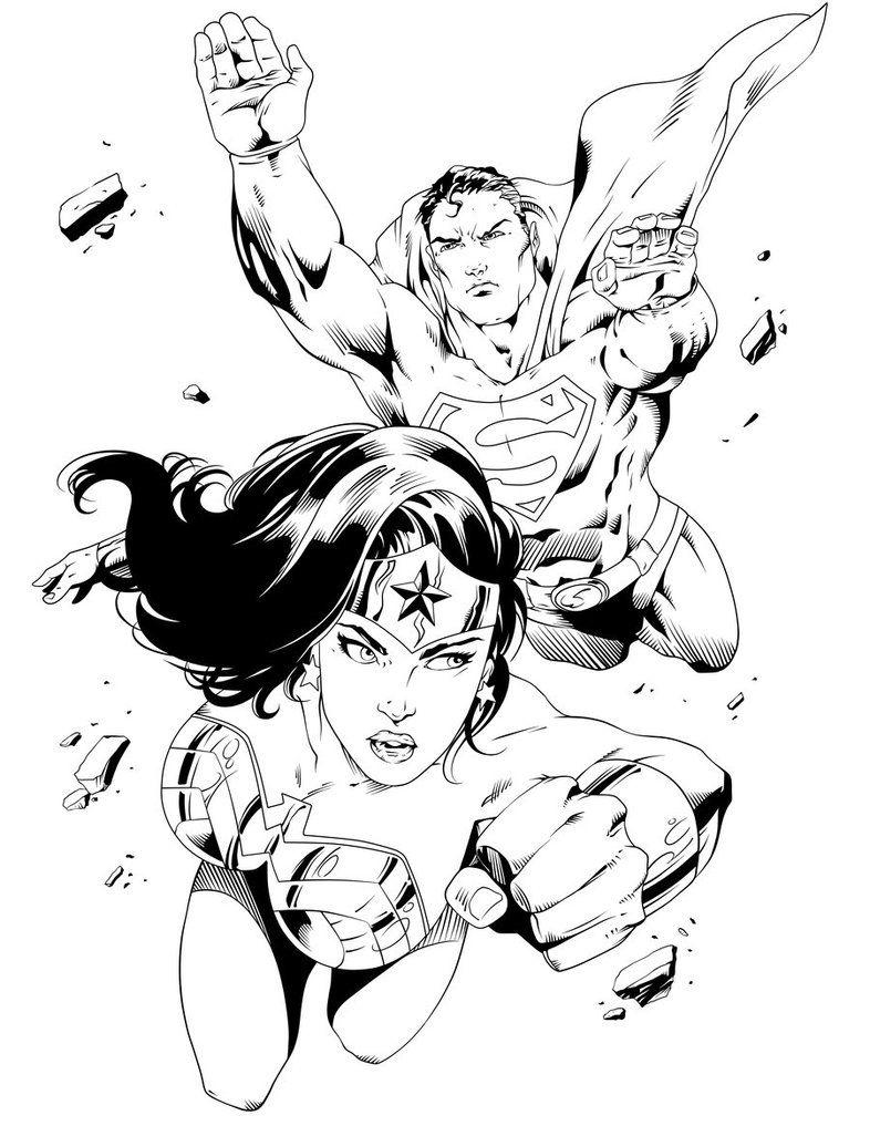 Wonder Woman And Superman Drawing