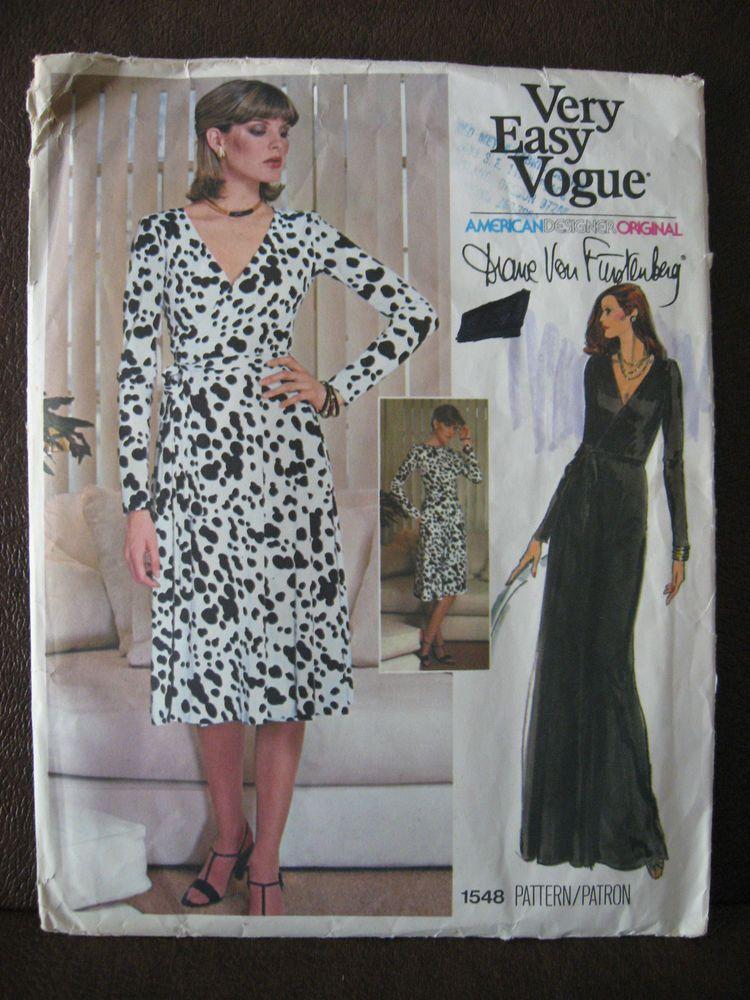 Vtg Vogue #1548 Diane Von Furstenberg Sz 12 Wrap Dress Pattern UNCUT ...