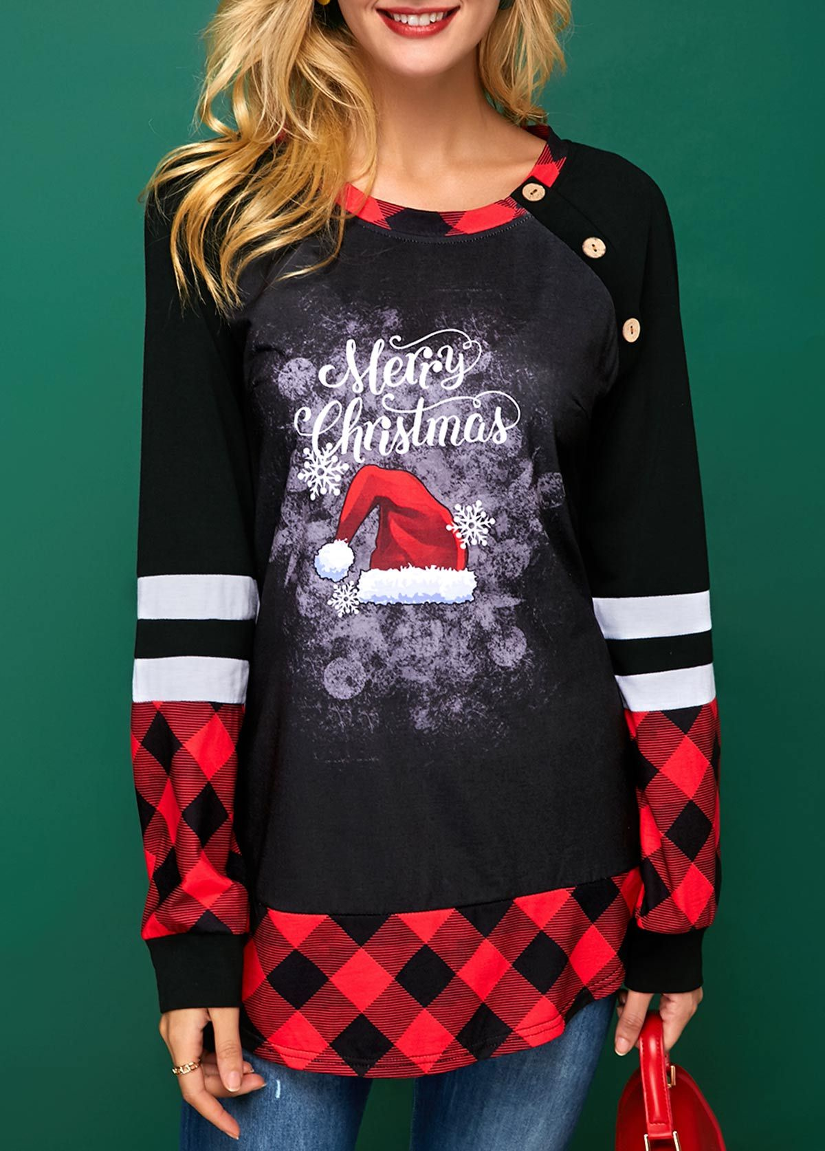 c0217ec31 Cheap womens trendy tops Tops online for sale. Button Detail Long Sleeve Christmas  T Shirt   modlily.com - USD $25.92