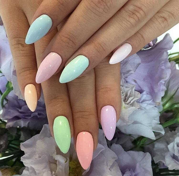 Pastel Stiletto Nails. | Nails | Pinterest | Diseños de uñas, Uñas ...