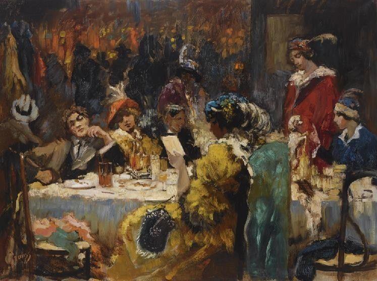 Gerardus Hendrik Grauss - Cafe Mille Colonnes, Amsterdam, 1911