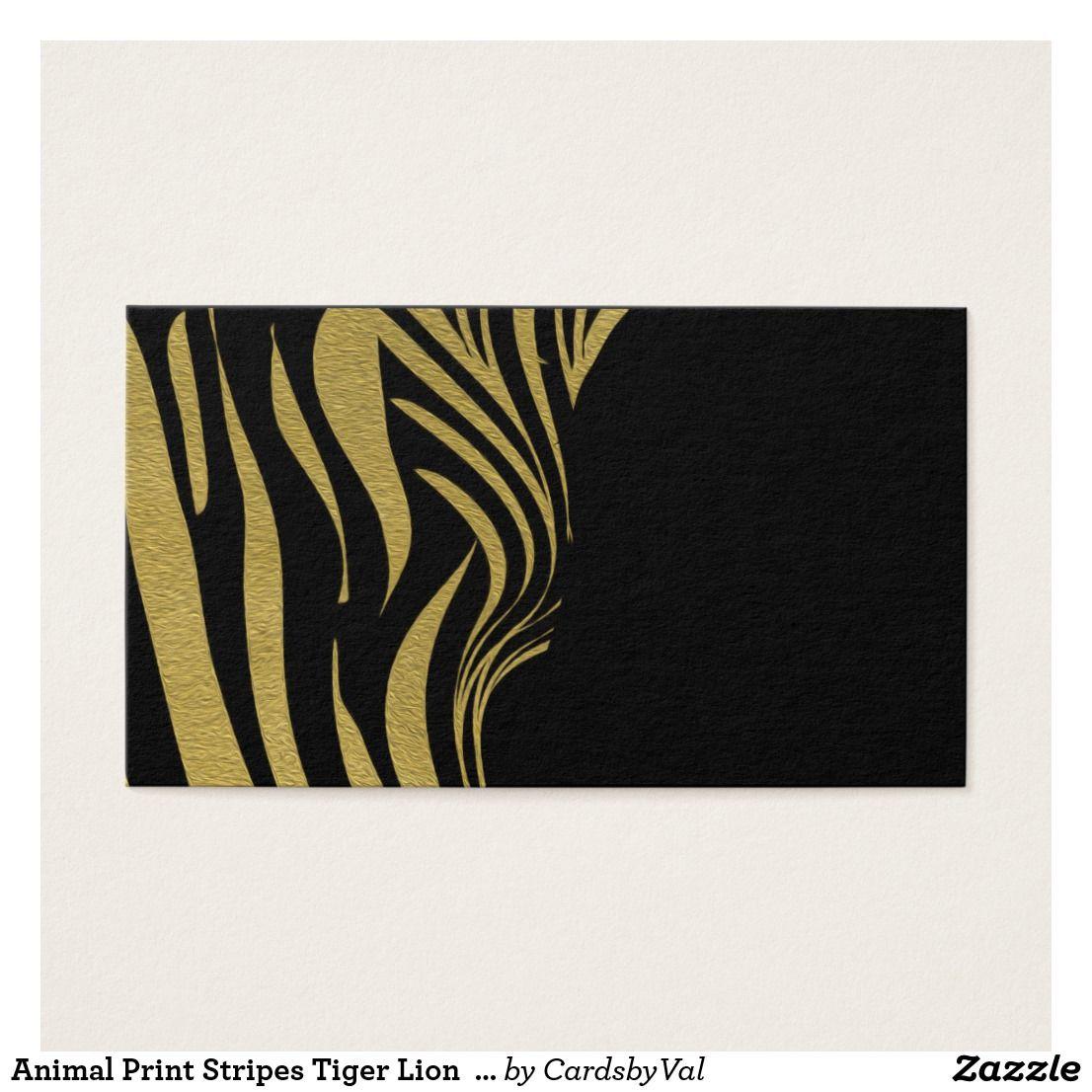Animal Print Stripes Tiger Lion Business Cards   Tribal Designs ...
