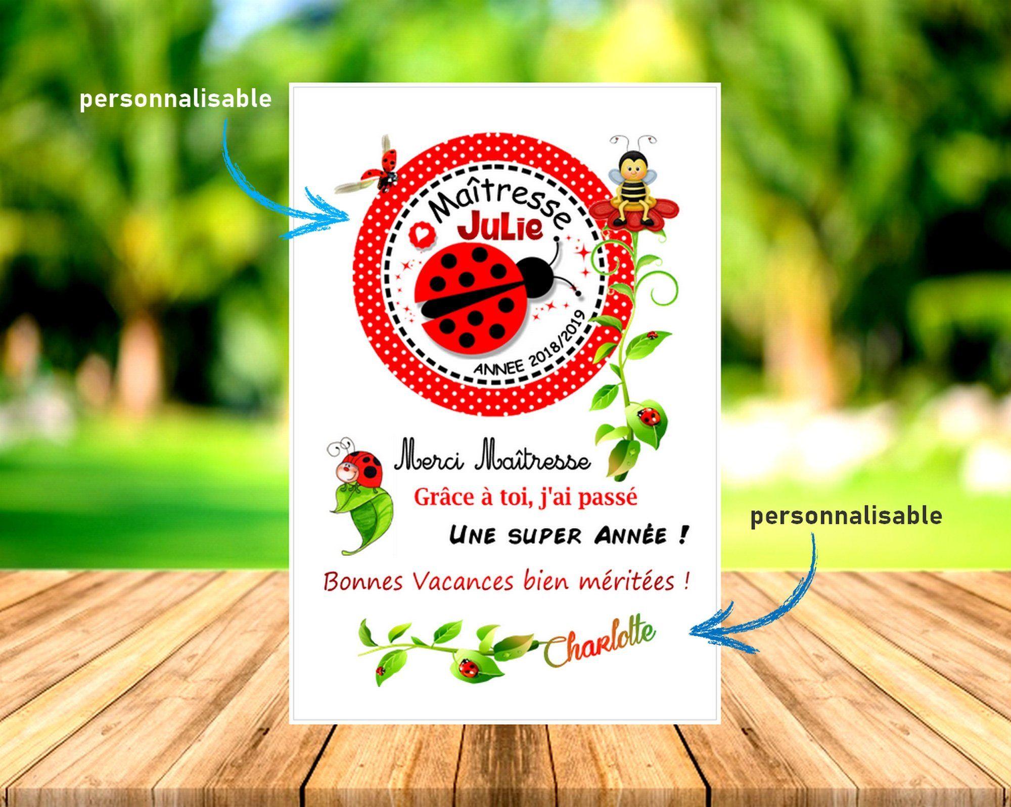 Carte Personnalisée Cadeau Maîtresse Atsem Avs Nounou Tata