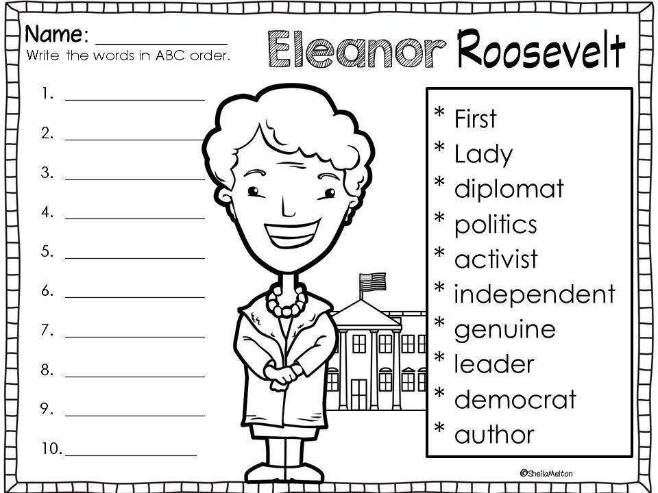 Eleanor Roosevelt Abc Order Eleanor Roosevelt Roosevelt Eleanor Roosevelt Activities