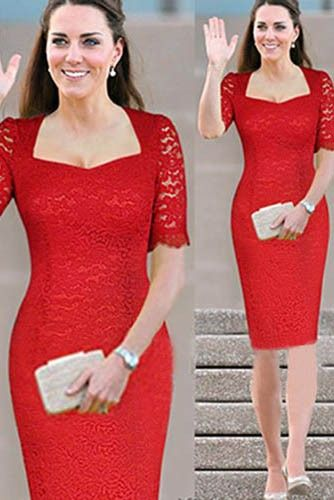 Kate Middleton Style Outfit Short Sleeves Red Lace Knee Length ...