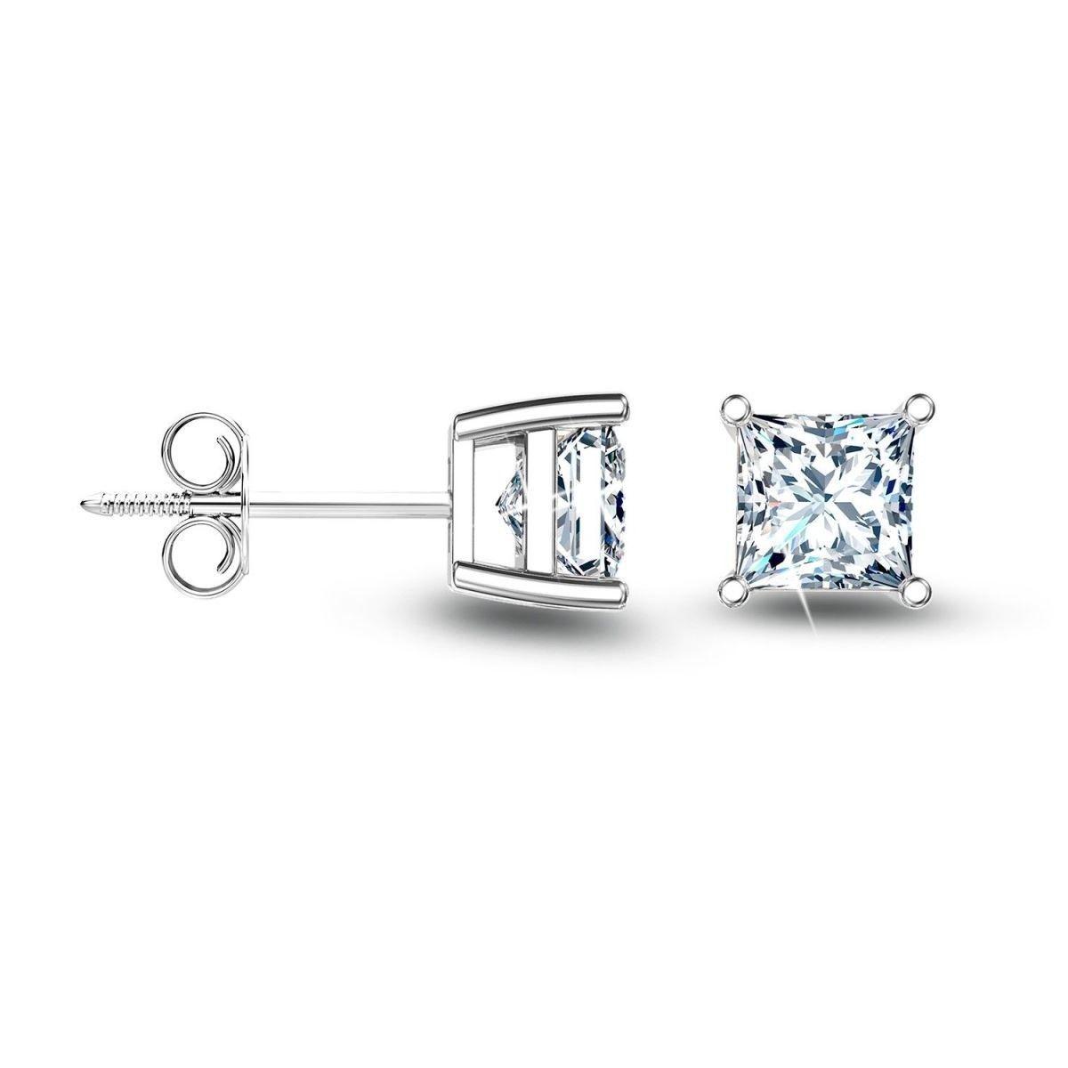 2c007b1d0 Princess Square Diamond Alternatives Stud Earrings 14k White Gold over 925  SS | eBay