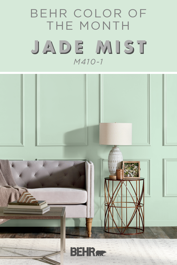 Modern Furniture Paneled Walls And The New Behr Paint Color Of The Month We Re Loving The Style O Green Walls Living Room Pastel Living Room Mint Green Walls