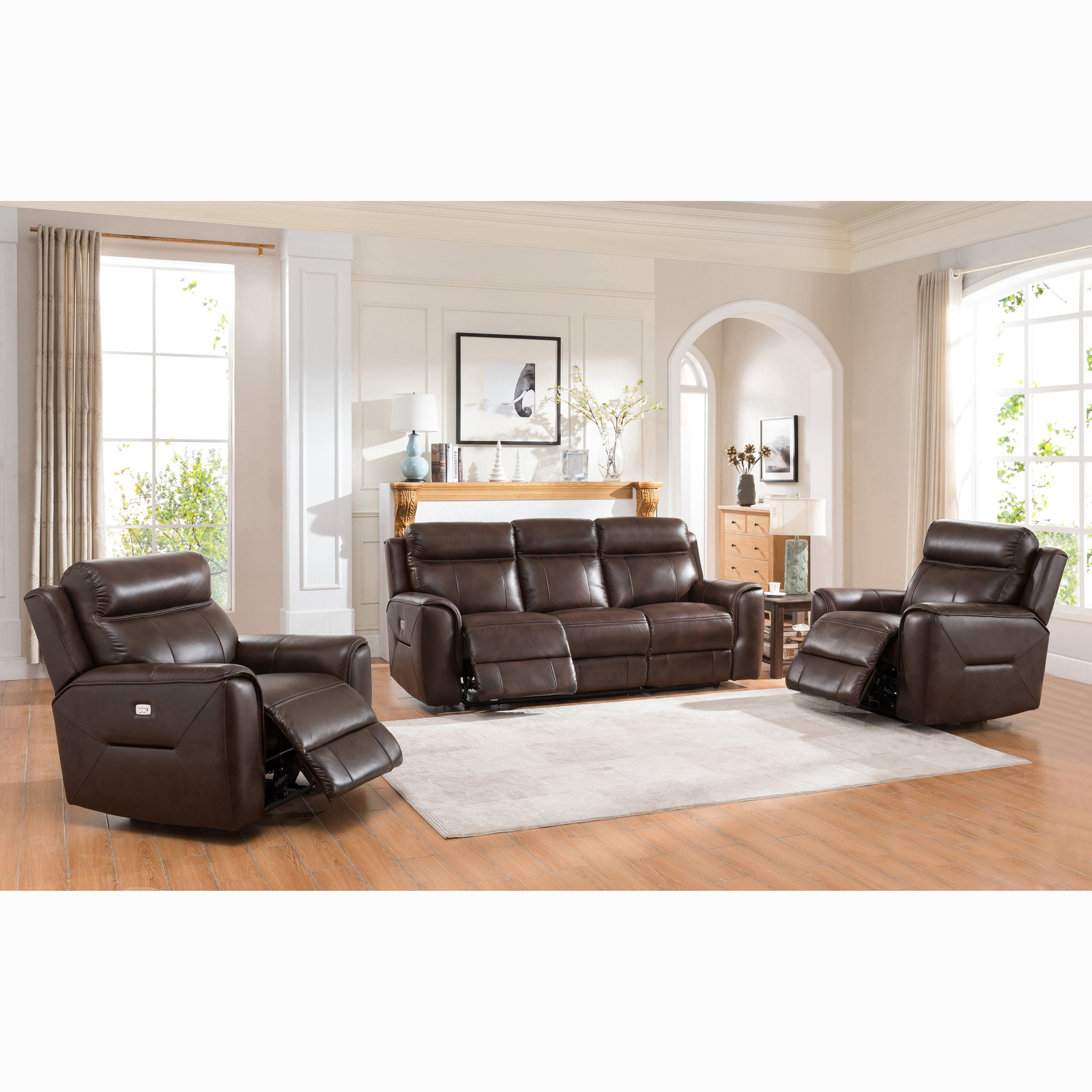 taft brown top grain leather power reclining sofa and two chairs rh pinterest co uk