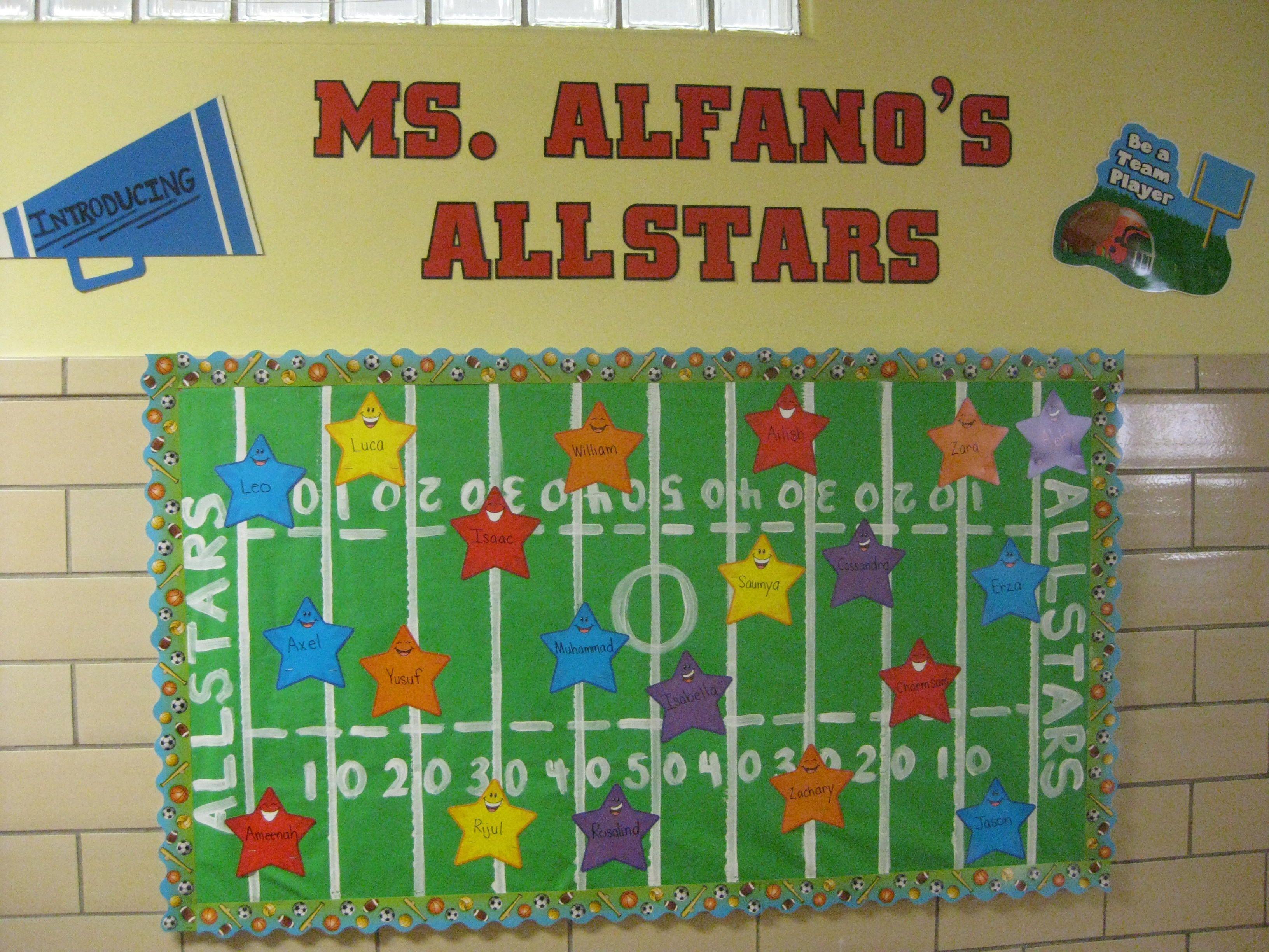 Football field names bulletin board sports theme