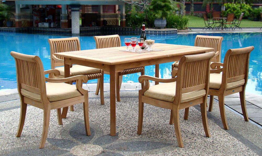 7 Piece Outdoor Teak Patio Dining Set 83 Rectangle Table 6 Arm Chairs Giva Patio Dining Set Outdoor Furniture Sets Furniture Sets