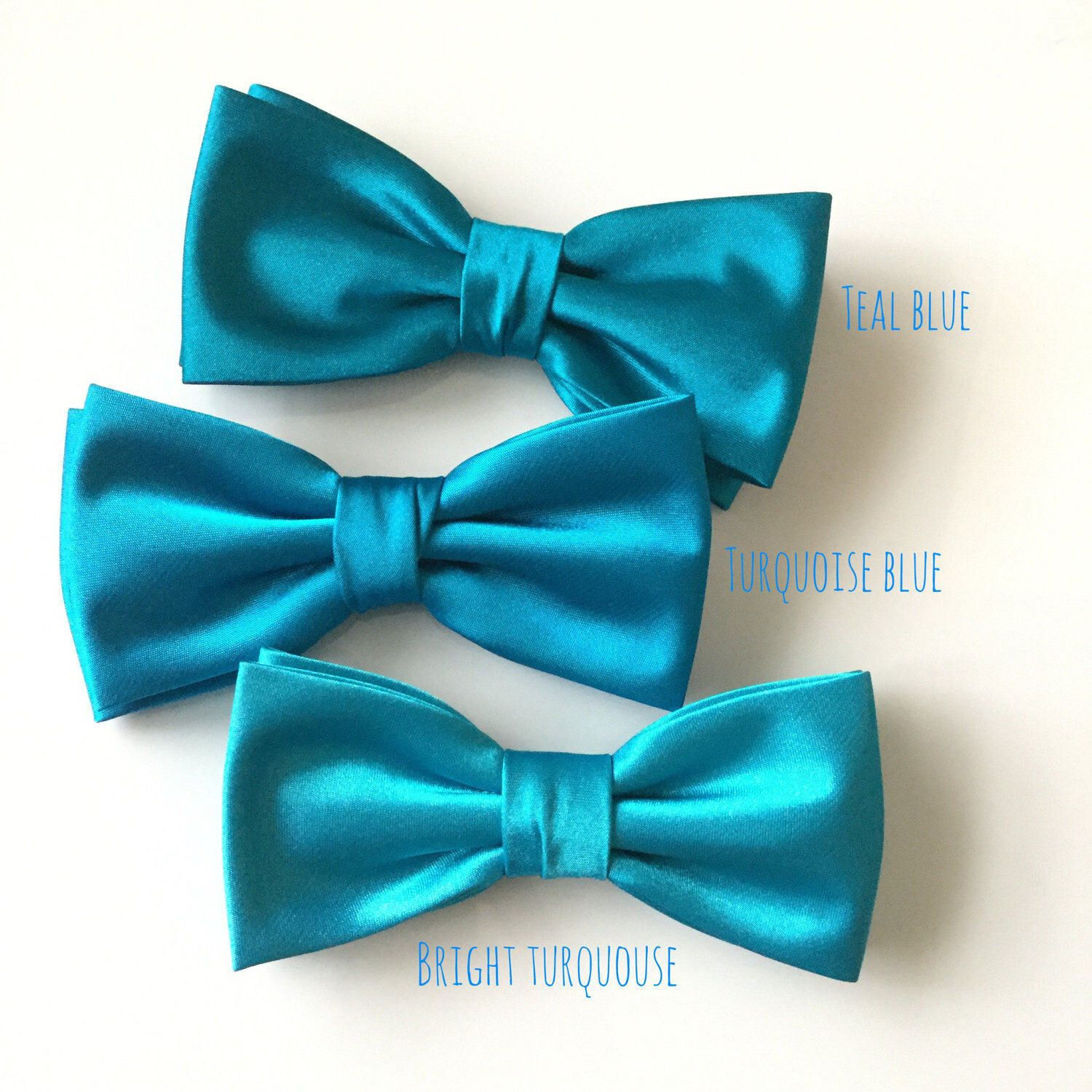 Teal Blue Bow Tie, Turquoise Bowtie, Solid Satin Bow Tie,