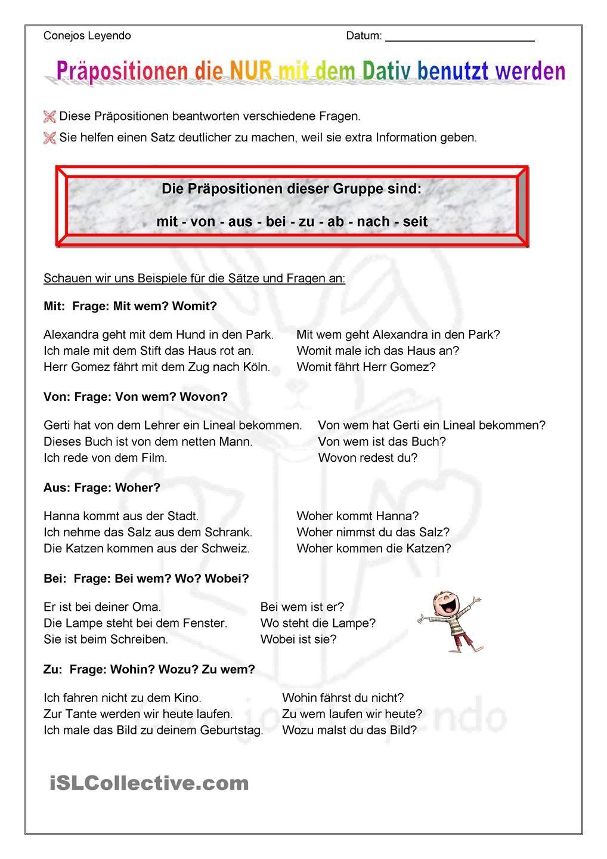 die dativ pr positionen bildung dativ pr positionen deutsch lernen und deutsche grammatik. Black Bedroom Furniture Sets. Home Design Ideas