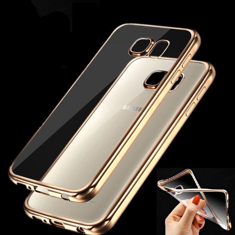 Case per samsung galaxy j2 j5 j7 2016 a3 a5 a7 2016 grand Prime S5 S6 S7 Bordo Chiaro Placcatura In Oro Molle Del Silicone TPU Phone Bag case