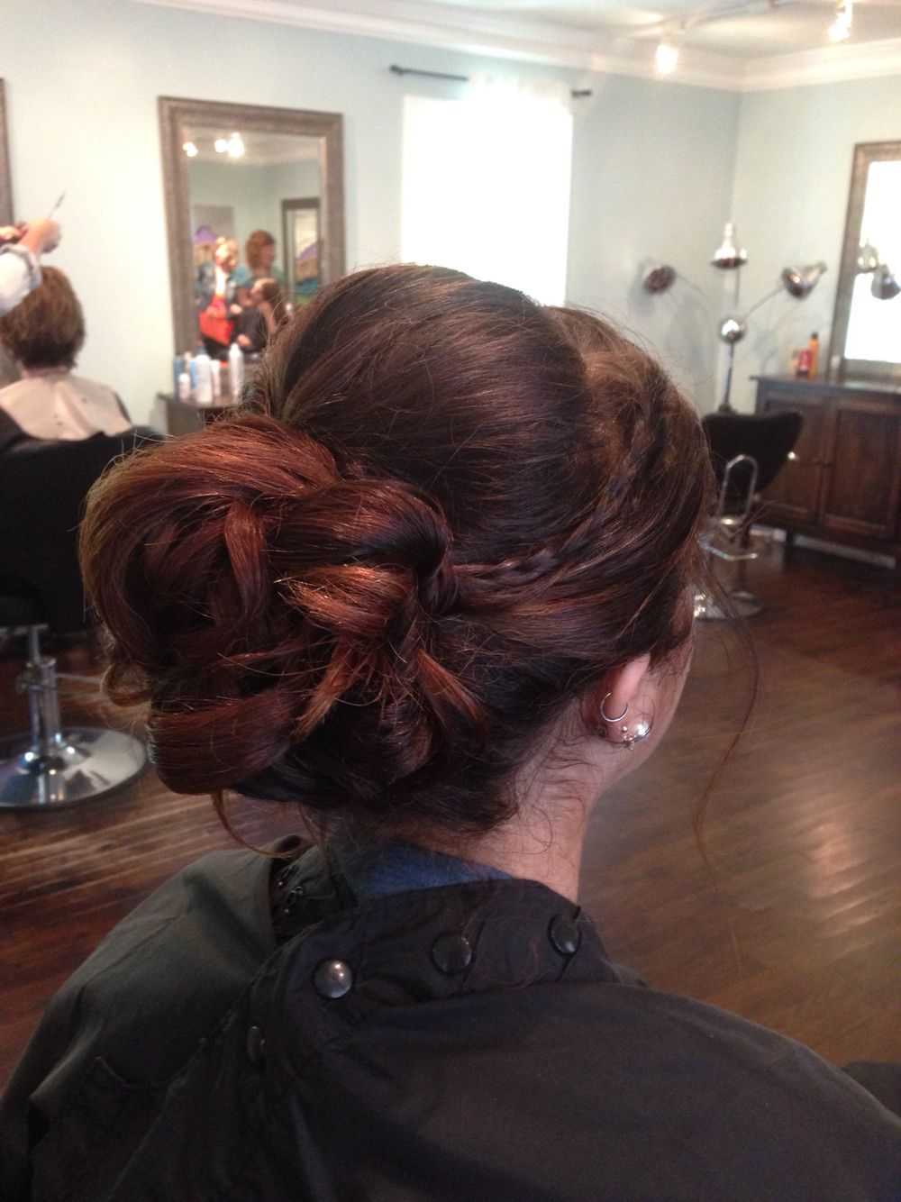 Long thick hair braid updo- prom hair