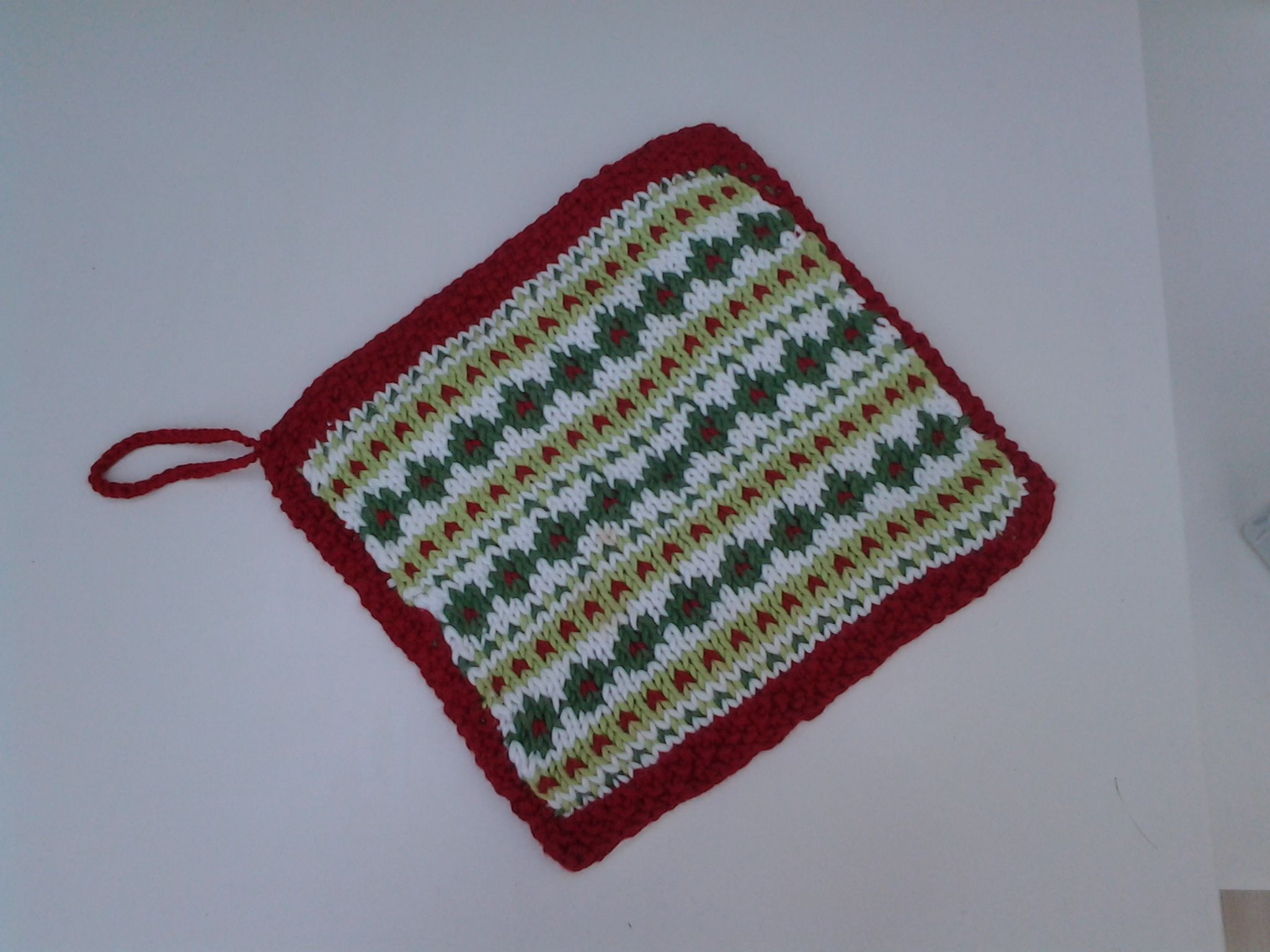 Knitted Christmas Fair Isle Pot Holder Sj Ireland