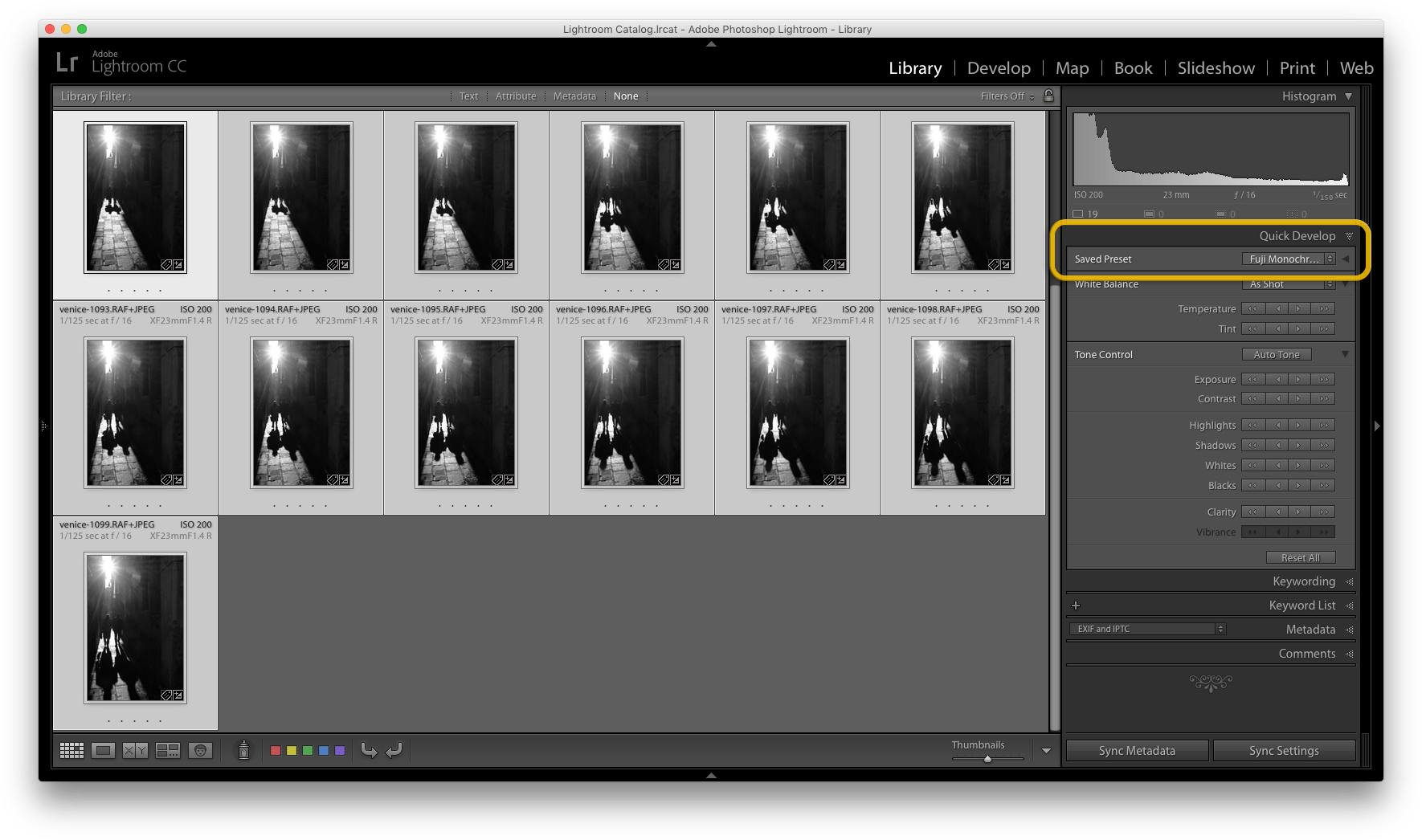 Lightroom copy develop settings to multiple photos