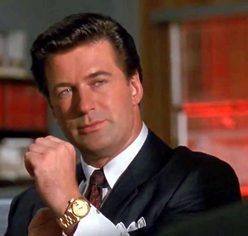 A screengrab of Alec Baldwin in 'Glengarry Glen Ross' (1992), wearing a Rolex Day-Date President. (Photo from: rolexblog.blogspot.com). #alecbaldwin #rolex #daydate #president #cool #watch #vintage #watches #classic #watches #stawc