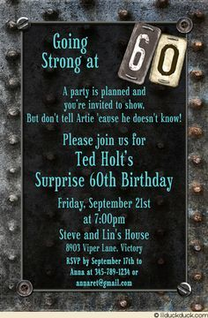 Surprise 60th Birthday Party Invitation Wording