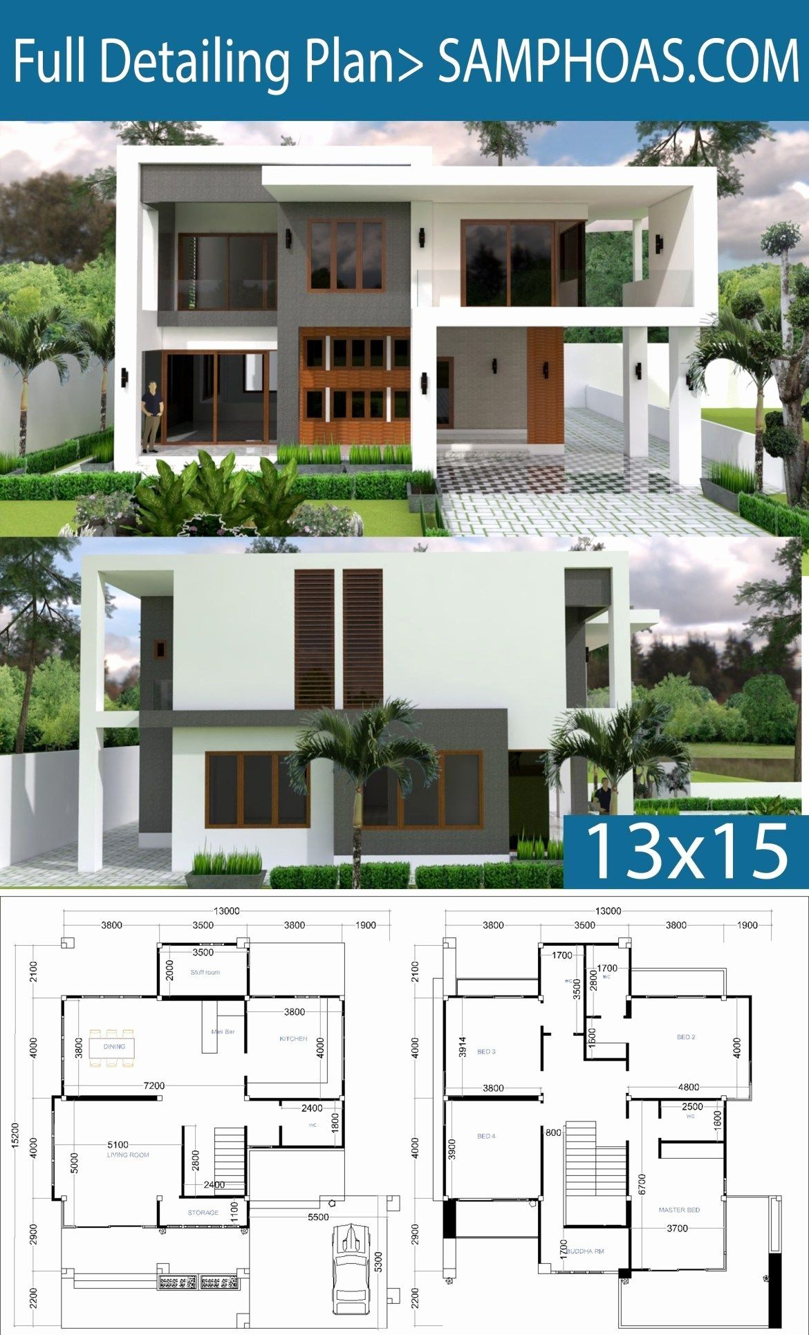 Modern House Plans Free Luxury Modern 4 Bedrooms House Plan 13x13m In 2020 4 Bedroom House Plans Modern House Plans Bedroom House Plans