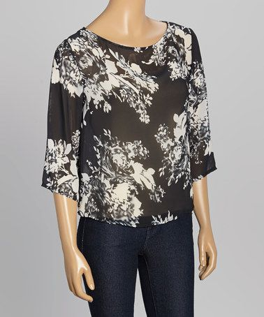 Loving this Black & White Floral Cross-Panel Shirt on #zulily! #zulilyfinds