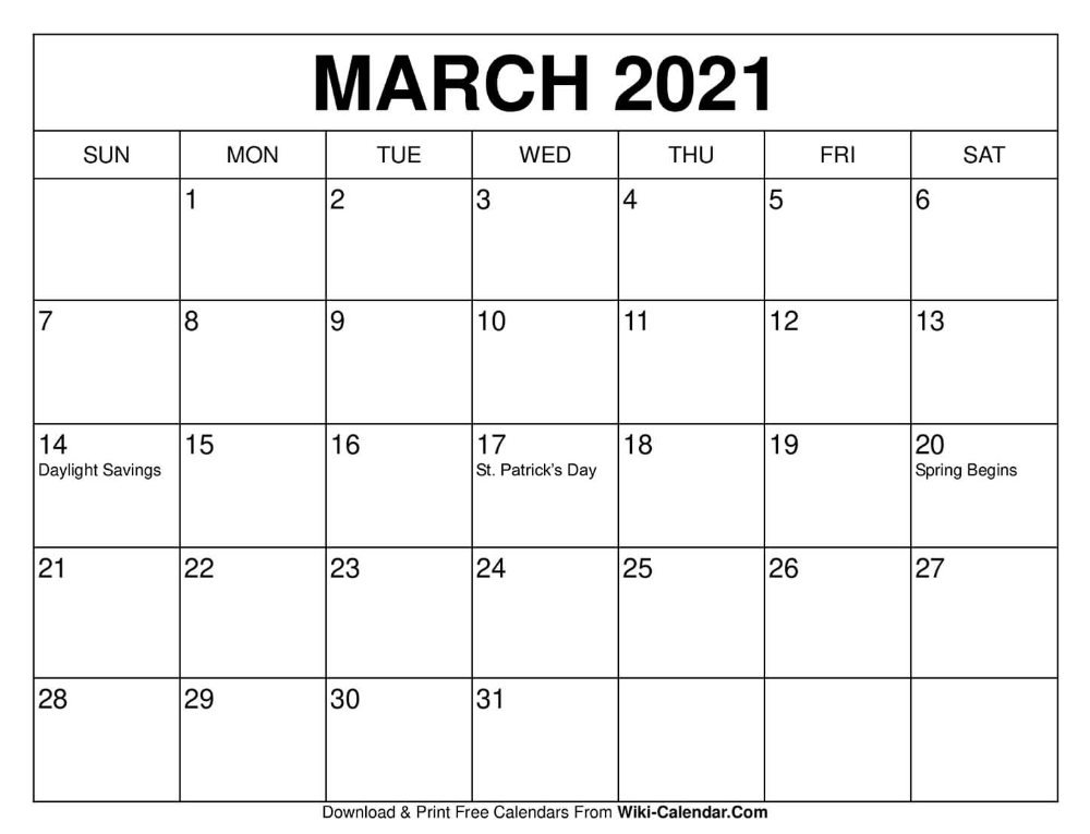 March Printable Calendar 2021 March 2021 Calendar in 2020 | Print calendar, Calendar, 2021 calendar