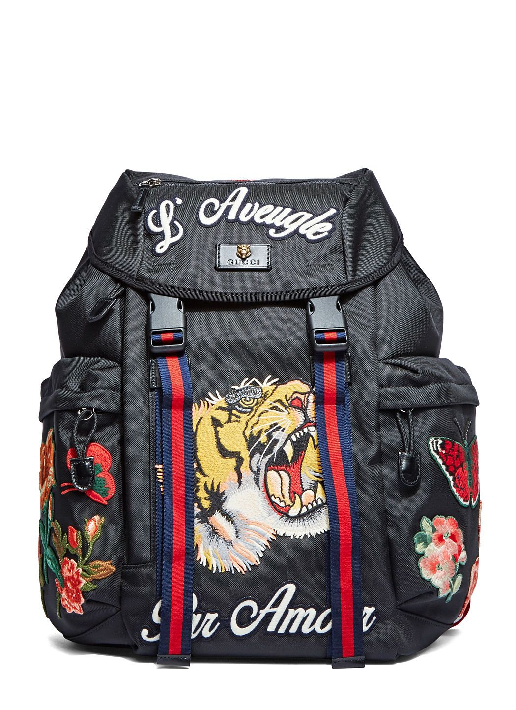 50ab8d260f81 GUCCI Men'S Zaino Embroidered Patch Canvas Backpack In Black. #gucci #bags  #leather #canvas #backpacks #cotton #