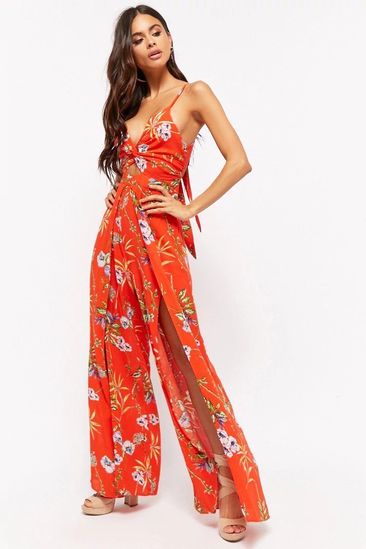 e2ac04dbb1c3 Crinkled Floral Twist-Front Cutout Overlay Jumpsuit