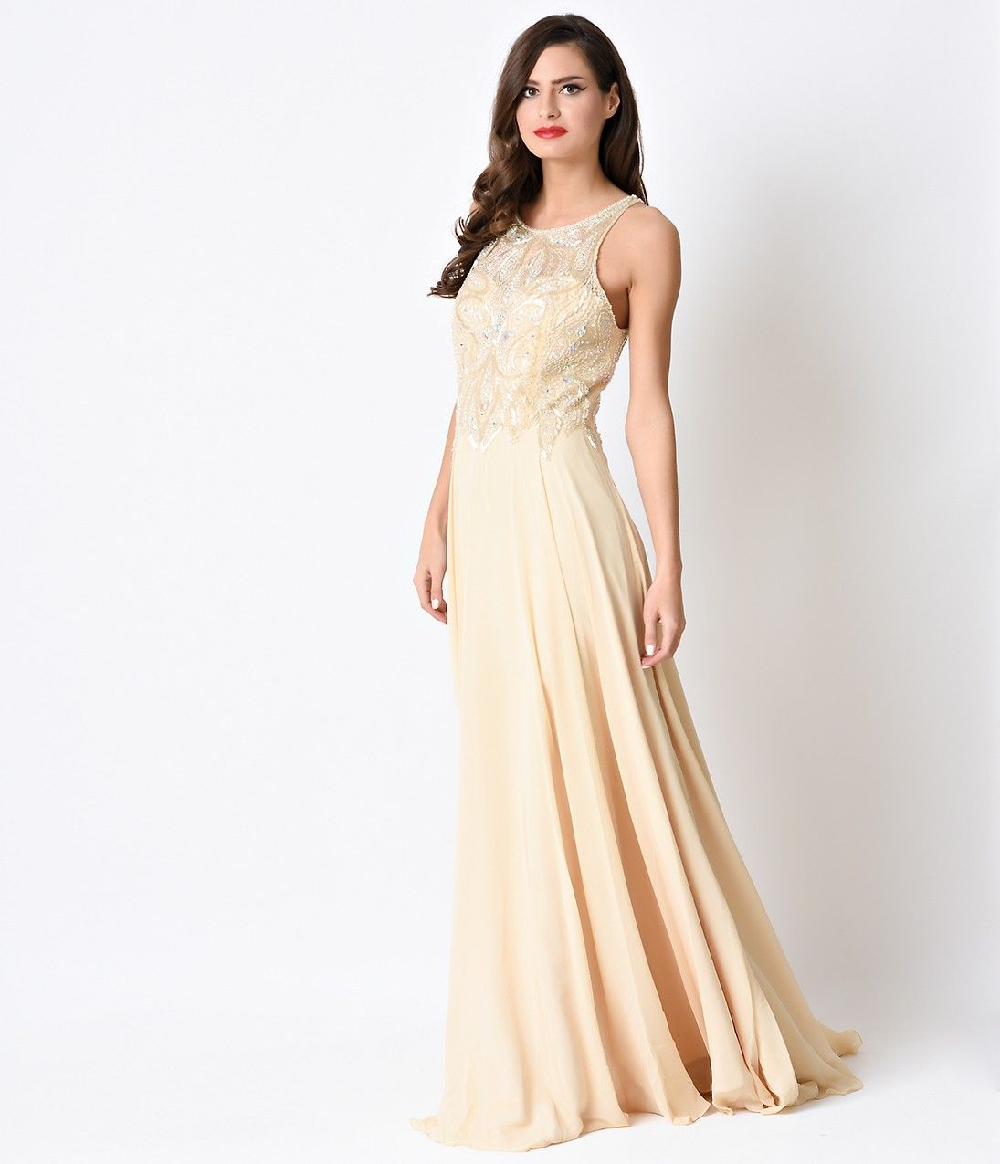 1930s style wedding dresses  s Style Gold Iridescent Deco Beaded Chiffon Long Evening Gown