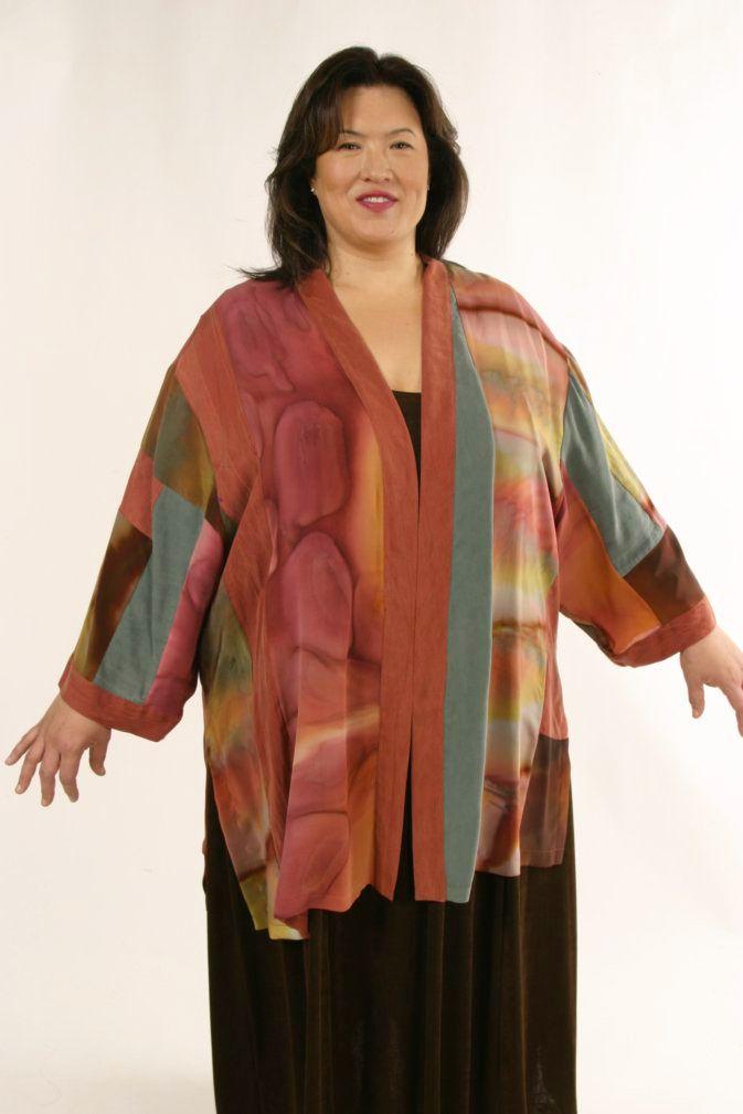 a7a793ac763 Special Occasion Kimono Jacket Silk Artwear Caramel Sage Size 26 28 SHOP NOW   Unique jackets for women Sizes 14 - 36