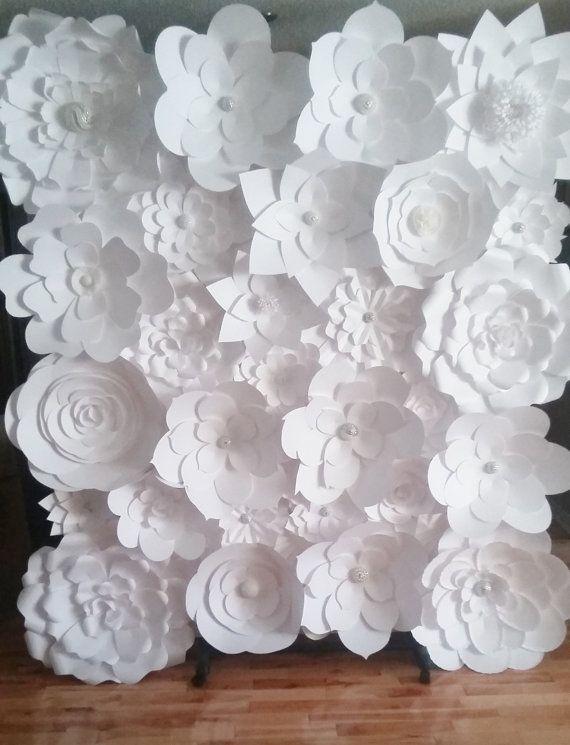 Diy paper flower backdrop white paper flower wedding large diy paper flower backdrop white baby nursery weddings events home decor mightylinksfo