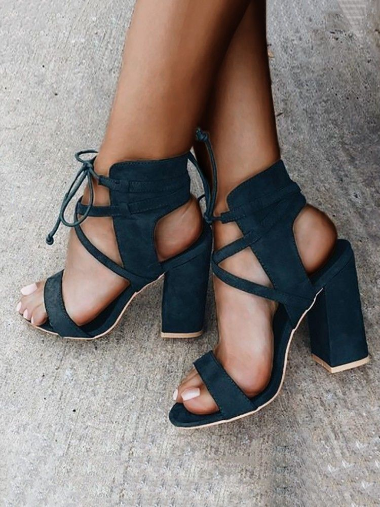 Open toe block heels, Sandals heels