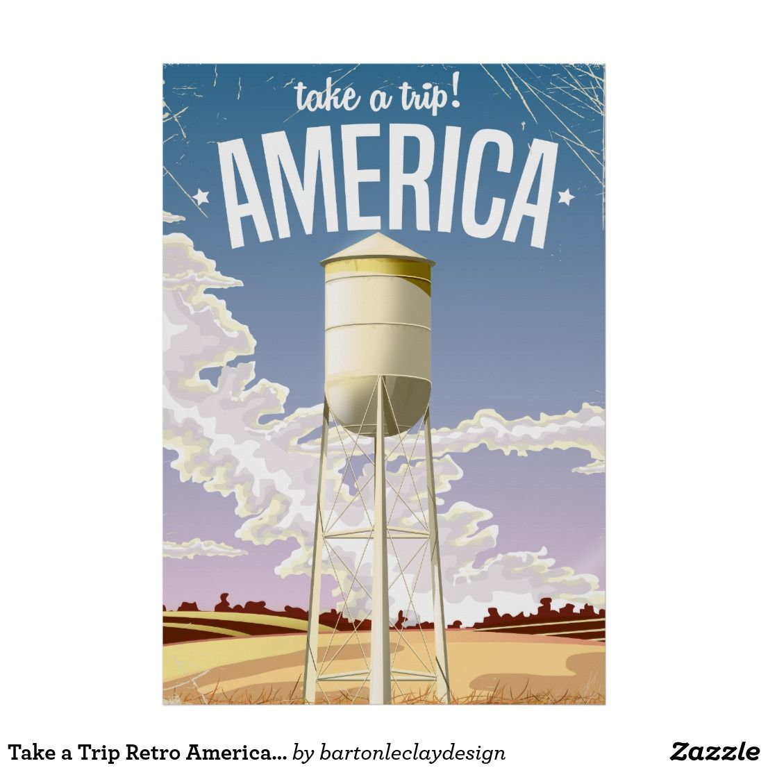 Take a Trip Retro America travel poster. Poster