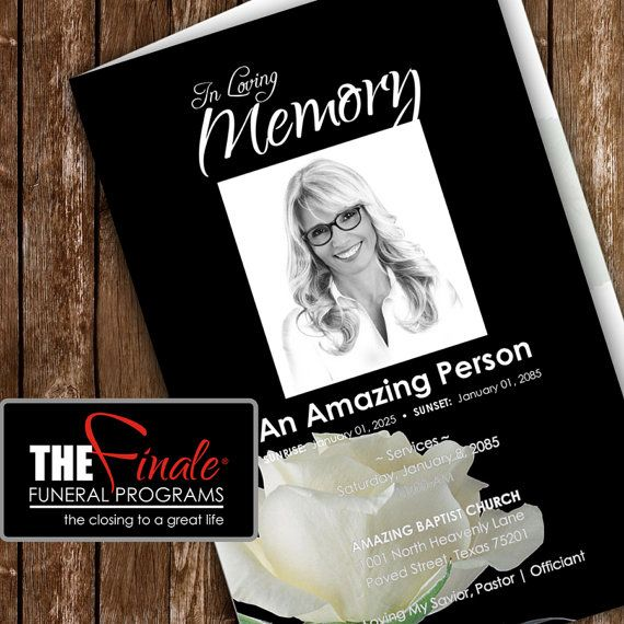 BLACK and WHITE ROSEVILLE (printable funeral program template - funeral templates free